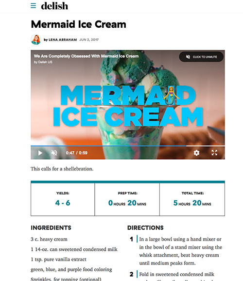 Frozen Jose Mier's mermaid ice cream from Delish